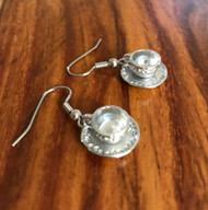 Resell for 6.00 or more Pewter tea cup Surgical steel ear wires Style #TCE022218g