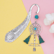 "resell for 12.00 or more Patina Bookmark Bow And Arrow Dream Catcher Antique Silver Blue Imitation Turquoise Feather 10.5cm(4 1/8"") x 2.3cm( 7/8"") Style #DCBM022318g"