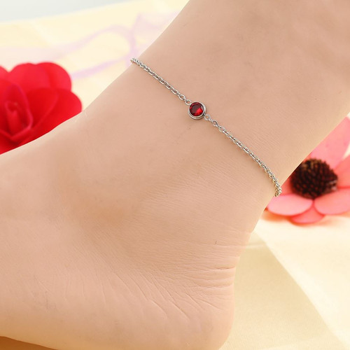 """resell for 15.00 or more Stainless Steel Anklet Silver Tone Round Red Rhinestone 23cm(9"""") long plus ext Style #RCAB022318g"""