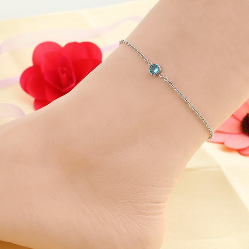 """resell for 15.00 or more Stainless Steel Anklet Silver Tone Round Blue Rhinestone 23cm(9"""") long plus ext Style #SBCAB022318g"""