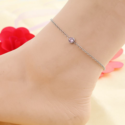 """resell for 15.00 or more Stainless Steel Anklet Silver Tone Round Pink Rhinestone 23cm(9"""") long plus ext Style #PCAB022318g"""