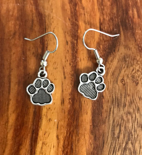 Resell for 5.00 or more Pewter paw print Dog cat Surgical steel ear wires Style #PPE022318g