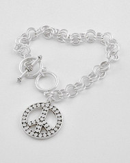 """resell for 21.00 or more Silver tone / Lead Compliant Metal / Toggle Closure / Peace Charm / Chain Bracelet /  •   8.5"""" L   •   ANTIQUE SILVER Style #SPSB022718g"""
