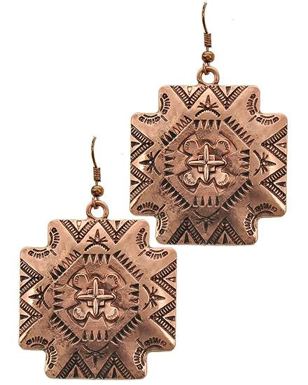 """resell for 15.00 or more Copper Tone / Lead Compliant / Metal / Fish Hook / Dangle / Religious / Cross / Earring Set /  •   WIDTH X LENGTH : 1 1/2"""" X 2 1/2""""  •   COOPER Style #CSWCE022718g"""