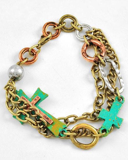 """resell for 35.00 or more Burnished Tri-tone / Lead Compliant / Patina Metal / Cross / Multi Row / Lobster-claw / Bracelet / •   LENGTH : 8 3/4"""" •   WIDTH : 1 1/2""""  •   B.THREE TONE/PATINA Style #PCABB030118g"""