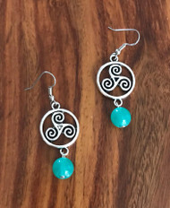 Resell for 9.00 or more Pewter Celtic spiral  Green glass Surgical steel ear wires Style #CSGGE030618g