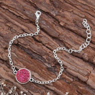 """resell for 6.00 or more Resin Druzy /Drusy Bracelets Silver Plated & Antique Silver Rose Red Round Glitter 17cm(6 6/8"""") plus ext Style #RRDRB030818g"""