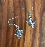 Resell for 6.00 or more Pewter mad hatter rabbit Surgical steel ear wires Style #MHRE030818g