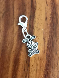 Resell for 6.00 or more Pewter bunny w carrot Lobster clasp bauble charm  Easter jewelry Style #BCB030818g