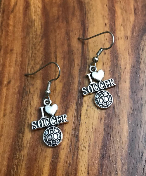 Resell for 5.00 or more Pewter I love soccer ⚽️  Surgical steel ear wires Style #ILSE030918g