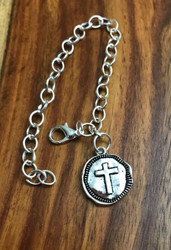 Resell for 9.00 or more Pewter cross disc  Silver tone charm bracelet 6.5 inch Style #CCCB030918g See earrings #cce040117 and bauble #ccb040117 on website