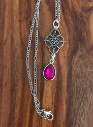 Resell for 12.00 or more 20 inch figaro silver tone chain Ornate pewter drop with fuschia faceted glass 2 inch drop Style #FODN031218g