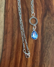 Resell for 12.00 or more 20 inch silver tone figaro chain  Pewter pendant with blue faceted glass 1.5 inches long Style #BCPDN031218g