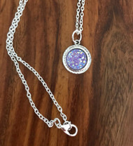 Resell for 9.00 or more Purple drusy resin 24 inch silver tone chain Style #PDR031218g