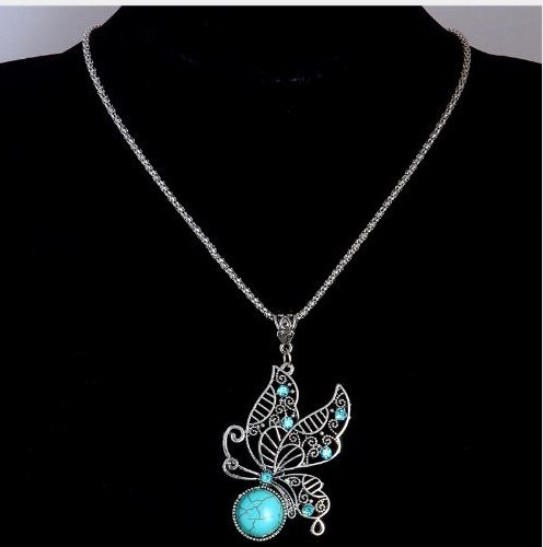 resell for 12.00 or more Vintage Butterfly Natural Stone Pendant Necklace. Turquoise Magnesite, pewter 20 inch silver tone chain plus ext Style #PBTMN031518g