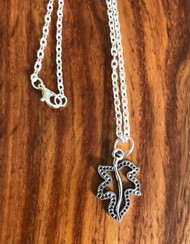 "Resell for 9.00 or more Pewter leaf 1"" x 5/8"" 18 inch silver tone chain Style #OLN031618g"