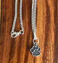 Resell for 8.00 or more 16 inch curb chain silver tone Pewter paw print