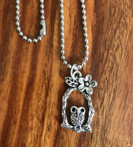 "Resell for 9.00 or more 23 inch stainless steel ball chain  Pewter owl 1 2/8"" drop Style #OPBN031618g"