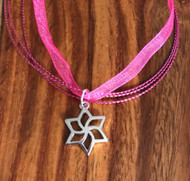 Resell for 9.00 or more 18 inch pink organza and cord. Plus ext Pinwheel pendant 7/8 x 5/8 Style #PWPN031618g