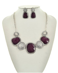"resell for 27.00 or more Antique Silver Tone / Purple Acrylic / Lead&nickel Compliant / Metal / Post (earrings) / Statement / Necklace & Earring Set /  •   LENGTH : 165 1/2"" + EXT •   EARRING : 7/8"" X 1 1/2"" •   DROP : 1 1/2""  •   SILVER/PURPLE Style #PANS031918g"