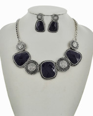 """resell for 27.00 or more Antique Silver Tone / Dk.blue Acrylic / Lead&nickel Compliant / Metal / Post (earrings) / Statement / Necklace & Earring Set /  •   LENGTH : 165 1/2"""" + EXT •   EARRING : 7/8"""" X 1 1/2"""" •   DROP : 1 1/2""""  •   SILVER/D.BLUE Style #BAPNS031918g"""