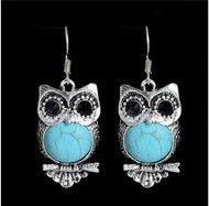 "resell for 12.00 or more Boho owl earrings. Turquoise Magnesite and Faceted black glass eyes/ pewter/ 1.5"" x .5 inch surgical steel earwires Style #BOE032218g"
