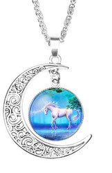 "resell for 12.00 or more Glass Jewelry Necklace  Unicorn Antique Silver Blue Moon 51cm(20 1/8"") long Style #STUMN032318g"
