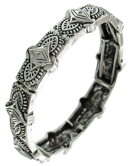 "resell for 12.00 or more Antique Silver Tone / Lead Compliant / Metal / Stretch / Bracelet /  •   SIZE FREE : STRETCH •   WIDTH : 5/8""  •   SILVER  Style #SWSB032718g"