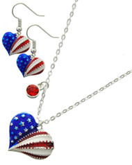 "resell for 36.00 or more Silver Tone / Multi Color Epoxy & Red Rhinestone / Lead&nickel Compliant / Metal / Fish Hook (earrings) / Patriotic Heart  / Delicate / Heart / Necklace & Earring Set  •   LENGTH : 16 1/2"" + EXTY •   PENDANT : 1"" X 1"" •   EARRING : 1/2"" X 1""  •   SILVER  Style #PHS032718g"