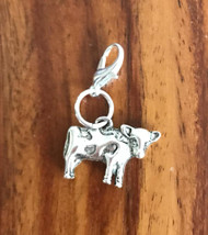 Resell for 6.00 or more Pewter cow  Lobster clasp bauble charm Style #CB032818g