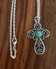 Resell for 12.00 or more 20 inch silver tone chain Pewter ornate cross with turquoise look German acrylic 1 7/8 x 1 2/8 inch Style #TCPN032918g