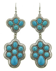 "resell for 21.00 or more Burnished Silver Tone / Turquoise Stone / Lead Compliant / Metal / Fish Hook / Dangle / Earring Set / •   WIDTH X LENGTH : 1 1/4"" X 3 13/4  •   SILVER/L.BLUE Style #TMSTDE040418g"