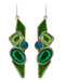 "resell for 12.00 or more Silver Tone / Green Acrylic & Epoxy / Lead Compliant / Fish Hook / Dangle / Earring Set / •   WIDTH X LENGTH : 3/4"" X 2 1/2""  •   SILVER/GREEN Style #GBEE040418g"