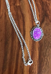 Resell for 12.00 or more Violet purple drusy resin Pewter framed bezel 20 inch silver tone chain Style #VPDRN040618g