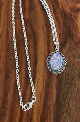 Resell for 12.00 or more Light purple drusy resin Pewter framed bezel 20 inch silver tone chain Style #LPDRN040618g