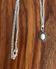 Resell for 9.00 or more Cream German acrylic pearl Tiny pewter bezel 18 inch silver tone chain Style #DPN040618g
