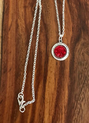 Resell for 9.00 or more Red drusy resin  Pewter framed bezel 18 inch silver tone chain Style #RDRN040618g