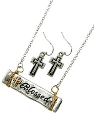 "resell for 36.00 or more Burnished Silver & Burnished Gold Tone / Lead&nickel Compliant / Metal / Fish Hook (earrings) / Religious / Blessed W/cross / Pendant / Necklace & Earring Set  •   LENGTH : 17 3/4"" + EXT •   PENDANT : 1 3/8"" X 1/4"" •   EARRING : 7/16"" X 1 1/4""  •   BURNISHED SILVER  Style #BTTNS041118"