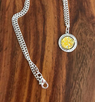Resell for 12.00 or more Yellow drusy Pewter bezel 18 inch silver tone chain Style #YDN041218
