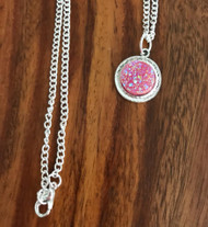 Resell for 12.00 or more Pink drusy Pewter bezel 18 inch silver tone chain Style #PDN041218