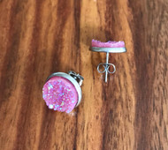 Resell for 9.00 or more Pink drusy  Stainless steel post earring Style #PDE041218