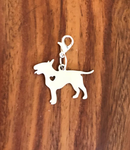 Resell for 12.00 or more Stainless steel bull terrier Engrave-able Lobster  clasp bauble charm Style #EBTBC041318