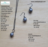 Gunmetal and Pewter Glass Pearls  Bauble ; Earrings & Chain sold separately