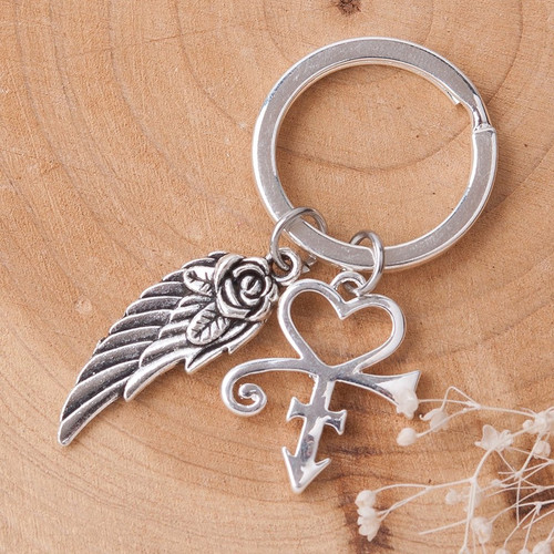 "resell for 12.00 or more Prince Fans Prince Symbol Keychain & Keyring Arrowhead Silver Plated & Antique Silver Wing 57mm(2 2/8"") x 25mm(1"") Style #PIK041318"