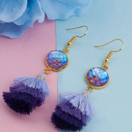 "resell for 15.00 or more Resin Mermaid Fish/ Dragon Scale Earrings Gold Plated Purple AB Rainbow Color Multilayer Tassel Round 73mm(2 7/8""), Post/ Wire Size: (21 gauge) Style #PMTE041318"