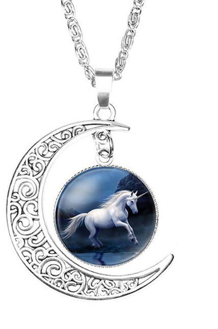 """resell for 15.00 or more Unicorn Silver Plated Deep Blue Moon 52cm(20 4/8"""") long Style #DBMUN041318"""