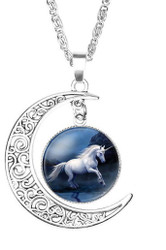 "resell for 15.00 or more Unicorn Silver Plated Deep Blue Moon 52cm(20 4/8"") long Style #DBMUN041318"