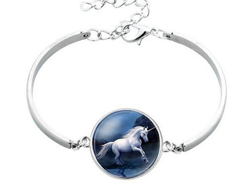 """resell for 12.00 or more Unicorn Silver Plated Deep Blue Moon 17cm (6 6/8"""") long Style #MBUB041318"""