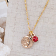 "resell for 9.00 or more Gold Plated Crescent Moon  Star Red Rhinestone 45cm(17 6/8"") long Style #GPMR041318"