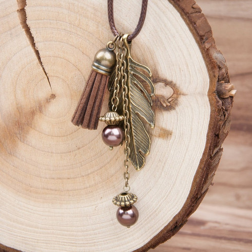 "resell for 12.00 or more Coffee Cord Feather Antique Bronze Pendant Glass Beads Necklace With Velvet Faux Suede Tassel 46.5cm(17 7/8"") long plus ext chain Style #BCFN041318"